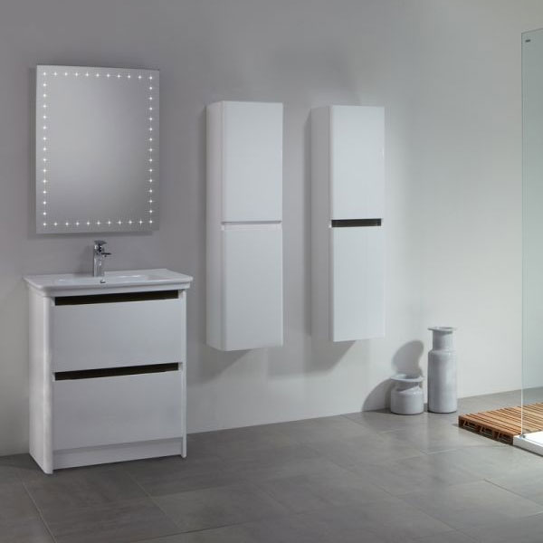 Tavistock Equate 700mm Freestanding Unit & Basin - Gloss White/Grey Oak profile large image view 2