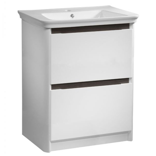 Tavistock Equate 700mm Freestanding Unit & Basin - Gloss White/Grey Oak Large Image