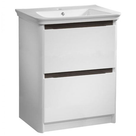 Tavistock Equate 700mm Freestanding Unit & Basin - Gloss White/Grey Oak