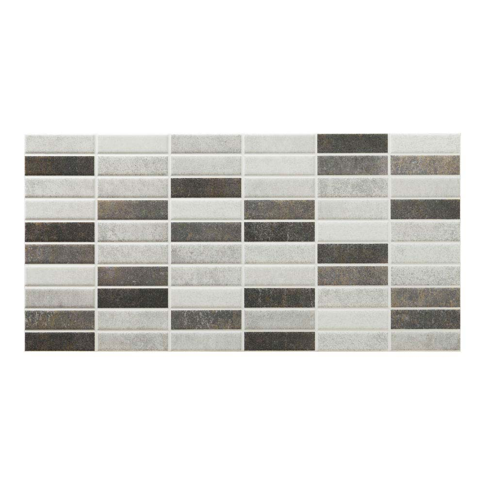 Eris Graphite Porcelain Mosaic Wall and Floor Tile - 250 x 500mm Large Image