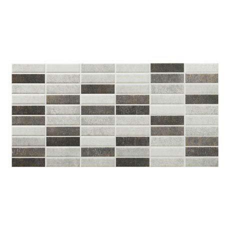 Eris Graphite Porcelain Mosaic Wall and Floor Tile - 250 x 500mm