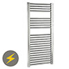 Reina Diva H800 x W300mm Chrome Flat Electric Towel Rail profile small image view 1