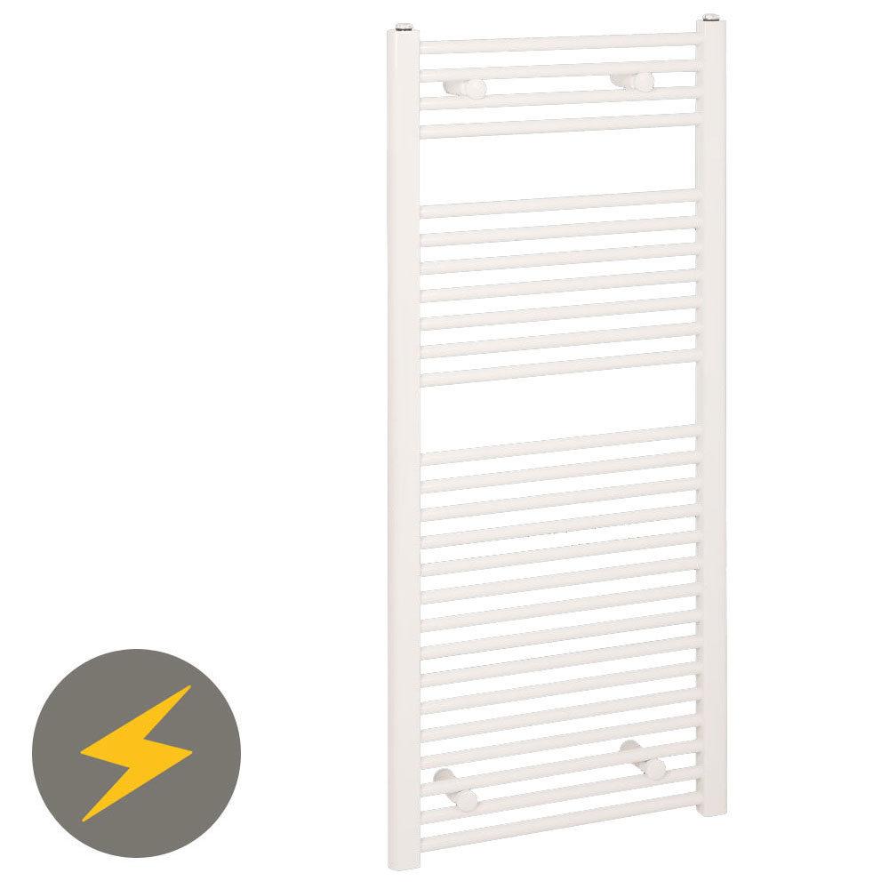 Reina Diva H1200 x W500mm White Flat Electric Towel Rail