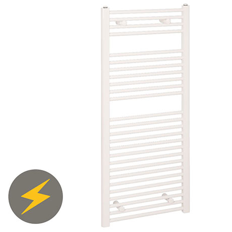 Reina Diva H800 x W300mm White Flat Electric Towel Rail