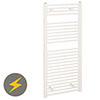 Reina Diva H1200 x W400mm White Flat Electric Towel Rail profile small image view 1