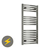 Reina Diva H800 x W600mm Chrome Curved Electric Towel Rail profile small image view 1