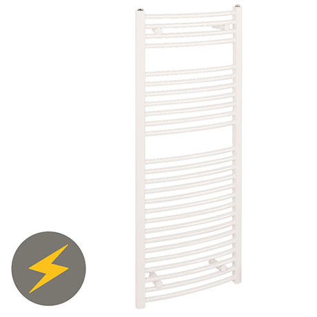 Reina Diva H800 x W400mm White Curved Electric Towel Rail