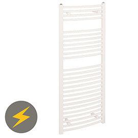Reina Diva H800 x W600mm White Curved Electric Towel Rail