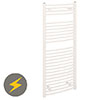 Reina Diva H1200 x W400mm White Curved Electric Towel Rail profile small image view 1