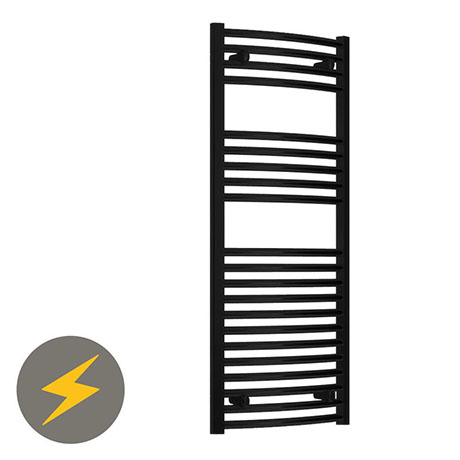 Reina Diva H800 x W500mm Black Curved Electric Towel Rail