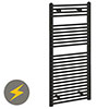 Reina Diva H1200 x W600mm Black Flat Electric Towel Rail profile small image view 1