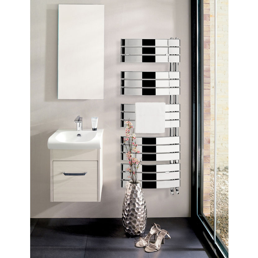 Bauhaus - Essence Curved Flat Panel Towel Rail - Anthracite - 2 Size Options Feature Large Image