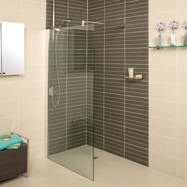 Roman - Embrace Clear Glass Corner Wetroom Panel - Various Size Options Large Image