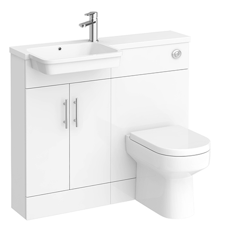 Emporio Compact Semi-Recessed Combination Basin and WC Unit - 1000mm