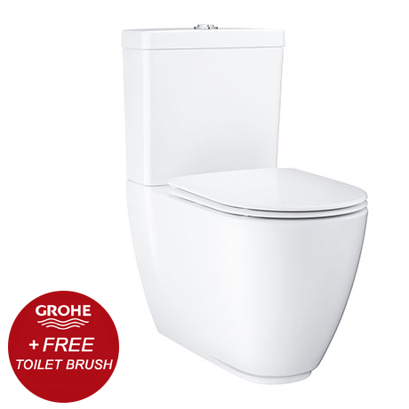 Grohe Essence Rimless Close Coupled Toilet with Soft Close Seat (Bottom Inlet) + FREE GIFT PROMOTION