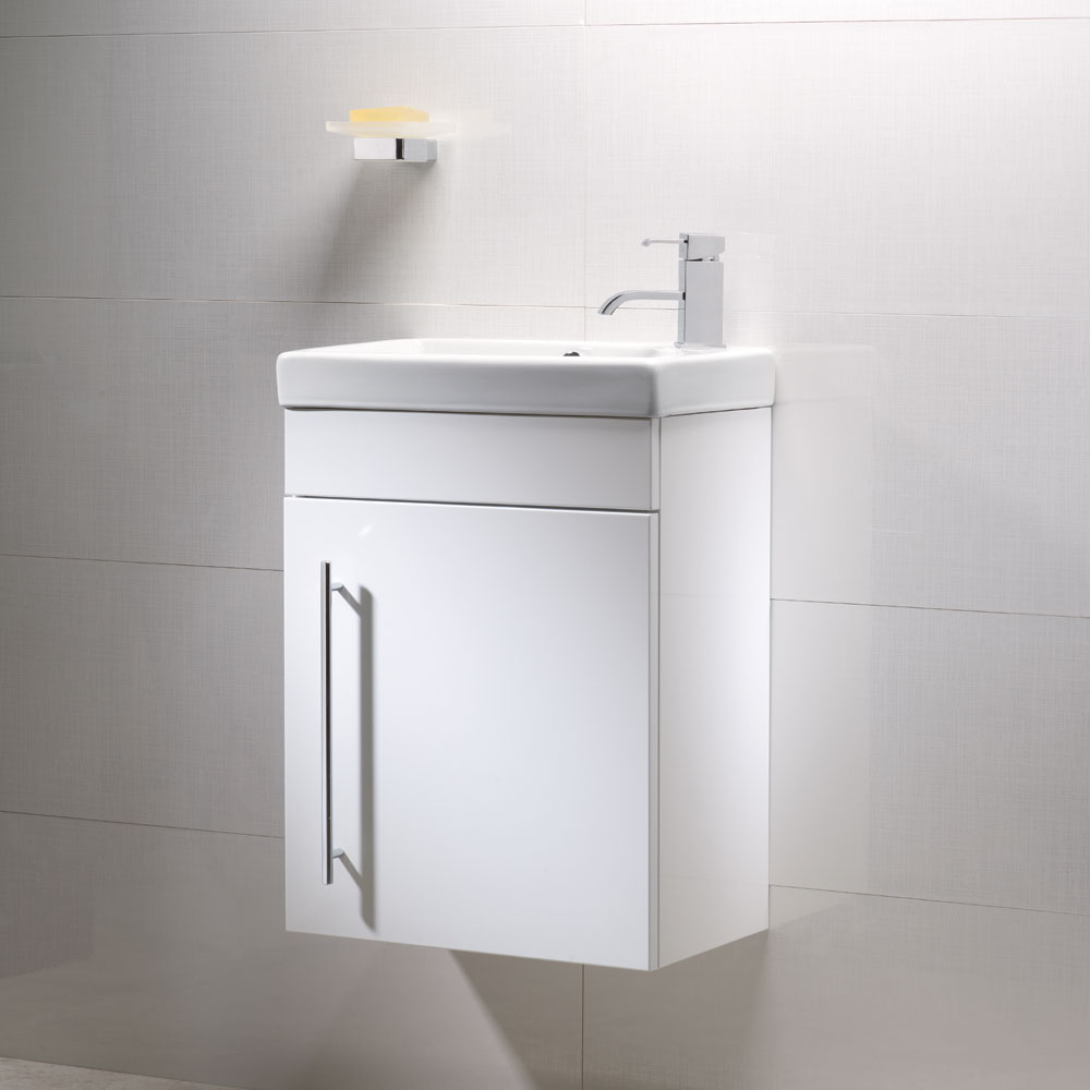 Roper Rhodes Esta 450mm Cloakroom Wall Mounted Unit - Gloss White profile large image view 2