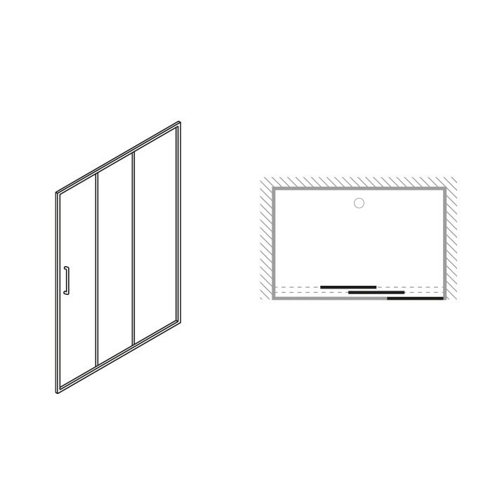Simpsons - Edge Triple Sliding Shower Door - Various Size Options Standard Large Image