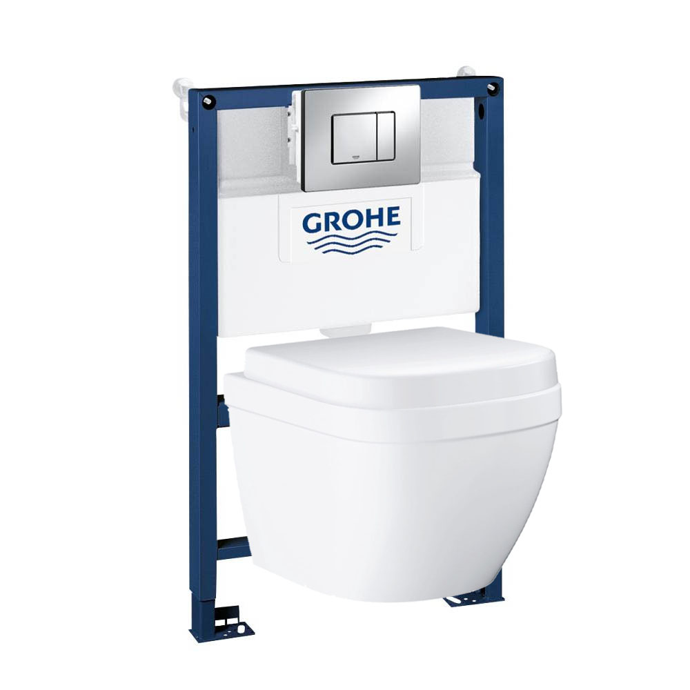 Grohe Rapid SL 0.82m Frame / Euro Compact Rimless Complete WC 5 in 1 Pack