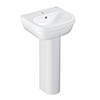 Grohe Euro Ceramic 450mm 1TH Basin + Full Pedestal profile small image view 1