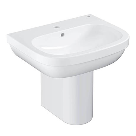 Grohe Euro Ceramic 600mm 1TH Basin + Half Pedestal