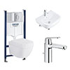 Grohe Solido Euro/Arena COMPLETE Wall Hung Suite (600mm Basin + Cosmo Smart Tap) profile small image view 1