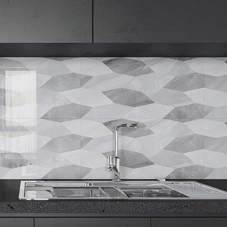 Evora Grey Decor Marble Effect Wall Tiles - 300 x 600mm
