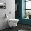 Compact Dual Flush Concealed WC Cistern with Wall Hung Frame & Modern Toilet profile small image view 1