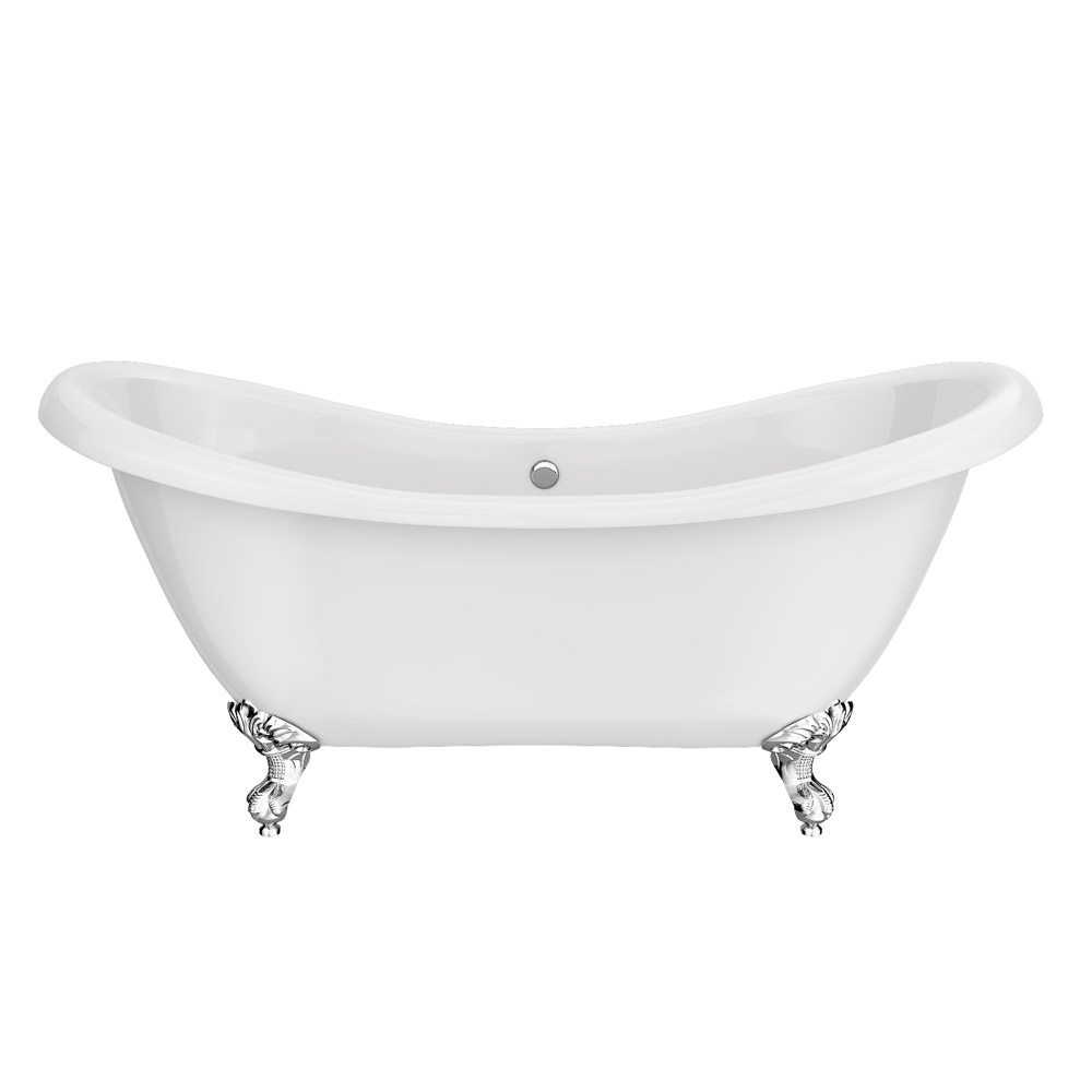 Earl 1750 Double Ended Roll Top Slipper Bath + Chrome Leg Set profile large image view 2