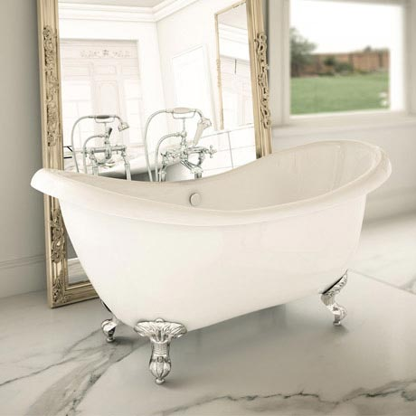 Earl 1750 Double Ended Roll Top Slipper Bath with Chrome Leg Set