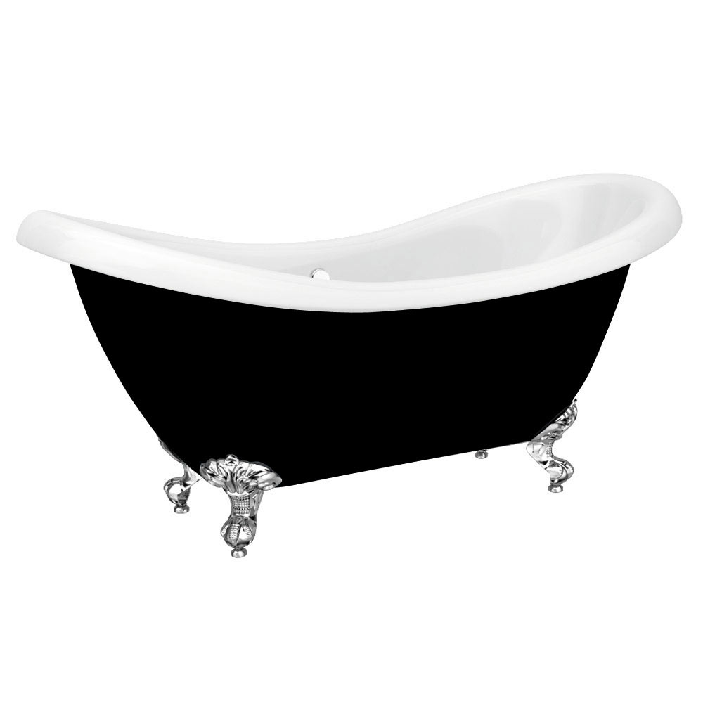 Earl Black 1750 Double Ended Roll Top Slipper Bath w. Ball + Claw Leg Set profile large image view 6