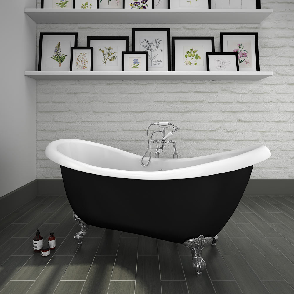 Earl Black 1750 Double Ended Roll Top Slipper Bath w. Ball + Claw Leg Set profile large image view 1