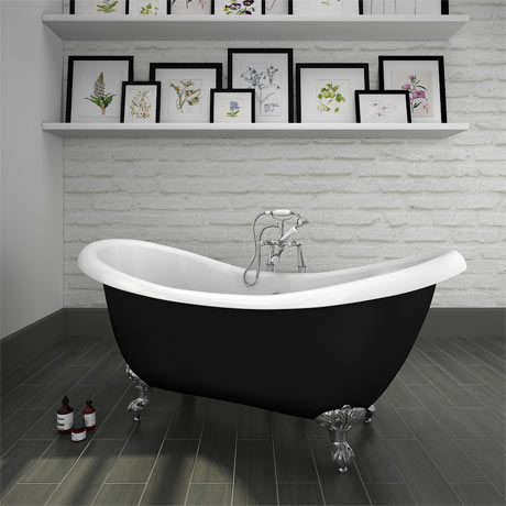 Earl Black 1750 Double Ended Roll Top Slipper Bath w. Ball + Claw Leg Set