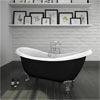 Earl Black 1750 Double Ended Roll Top Slipper Bath w. Ball + Claw Leg Set profile small image view 1