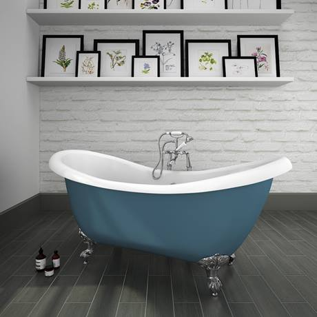 Earl Blue 1750 Double Ended Slipper Bath w. Chrome Ball + Claw Leg Set