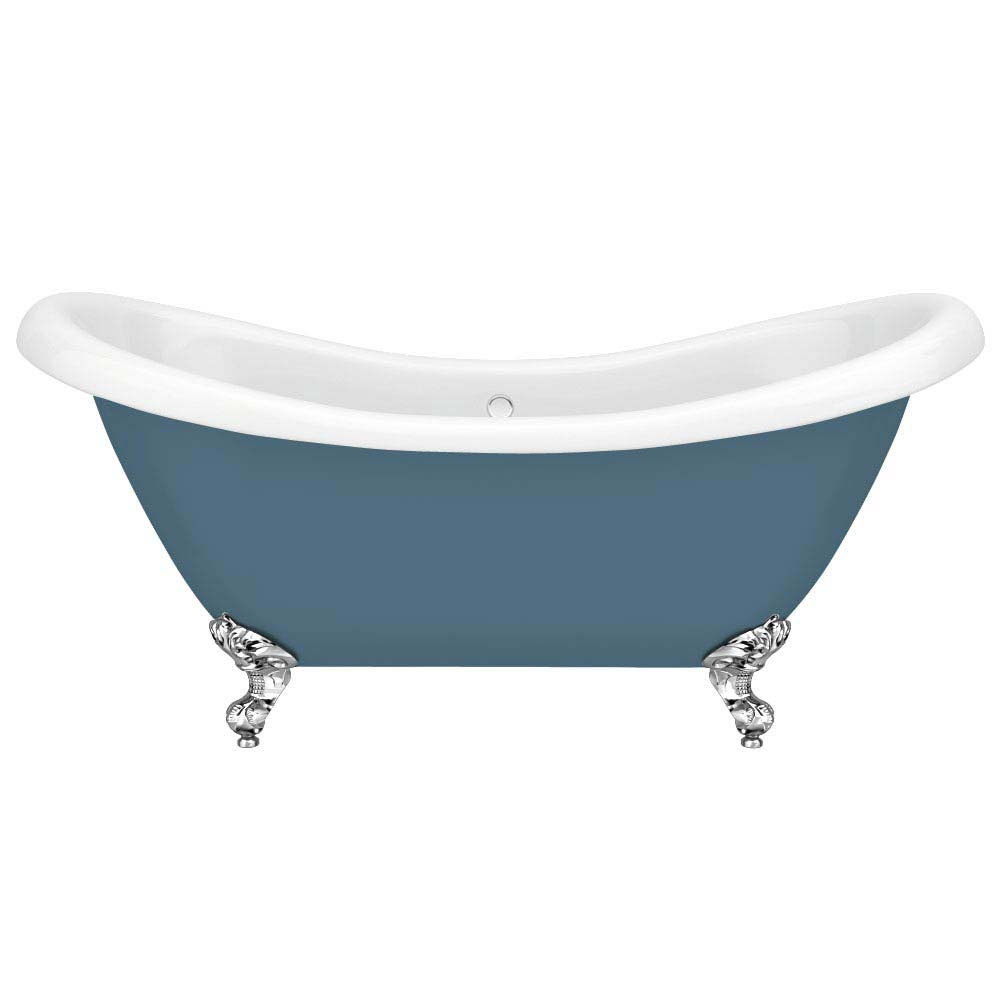 Earl Blue 1750 Double Ended Roll Top Slipper Bath w. Ball + Claw Leg Set profile large image view 2