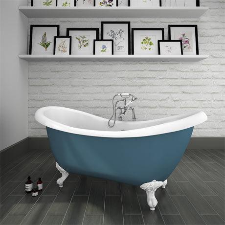 Earl Blue 1750 Double Ended Roll Top Slipper Bath w. Ball + Claw Leg Set