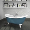 Earl Blue 1750 Double Ended Roll Top Slipper Bath w. Ball + Claw Leg Set profile small image view 2