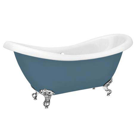 Earl Blue 1750 Double Ended Roll Top Slipper Bath w. Ball + Claw Leg Set