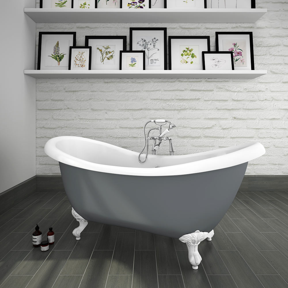 Earl Grey 1750 Double Ended Roll Top Slipper Bath w. Ball + Claw Leg Set