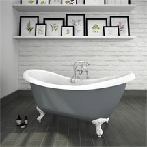 Earl Grey 1750 Double Ended Roll Top Slipper Bath w. Ball + Claw Leg Set Medium Image