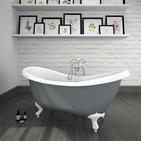 Earl Grey 1750 Double Ended Roll Top Slipper Bath w. Ball + Claw Leg Set