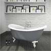 Earl Grey 1750 Double Ended Roll Top Slipper Bath w. Ball + Claw Leg Set profile small image view 1