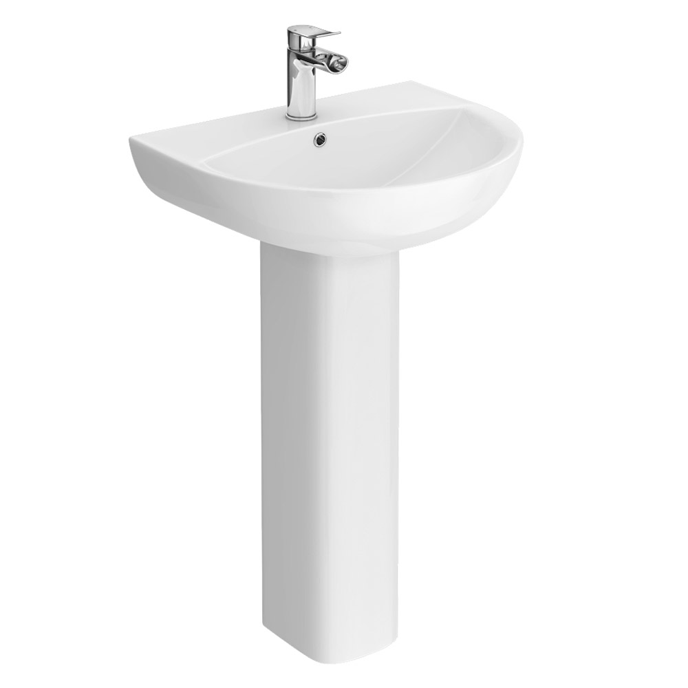 Eclipse Bathroom Basin + Full Pedestal (555mm Wide - 1 Tap Hole)