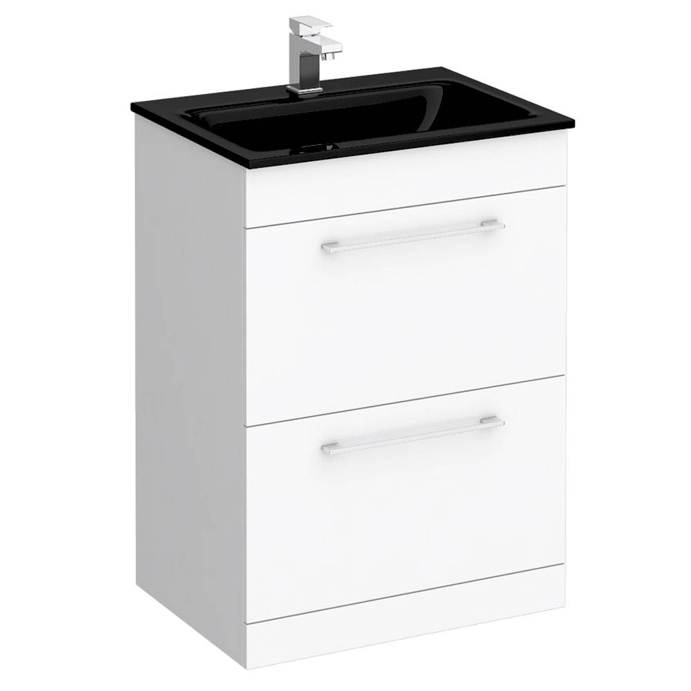 Eclipse Black Modern 2 Drawer Vanity Unit (600mm Wide - 1 Tap Hole) profile large image view 1