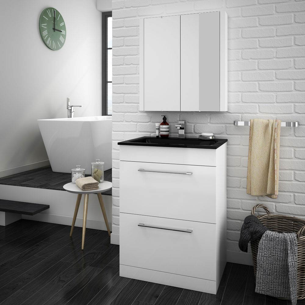 Eclipse Black Modern 2 Drawer Vanity Unit (600mm Wide - 1 Tap Hole) profile large image view 2