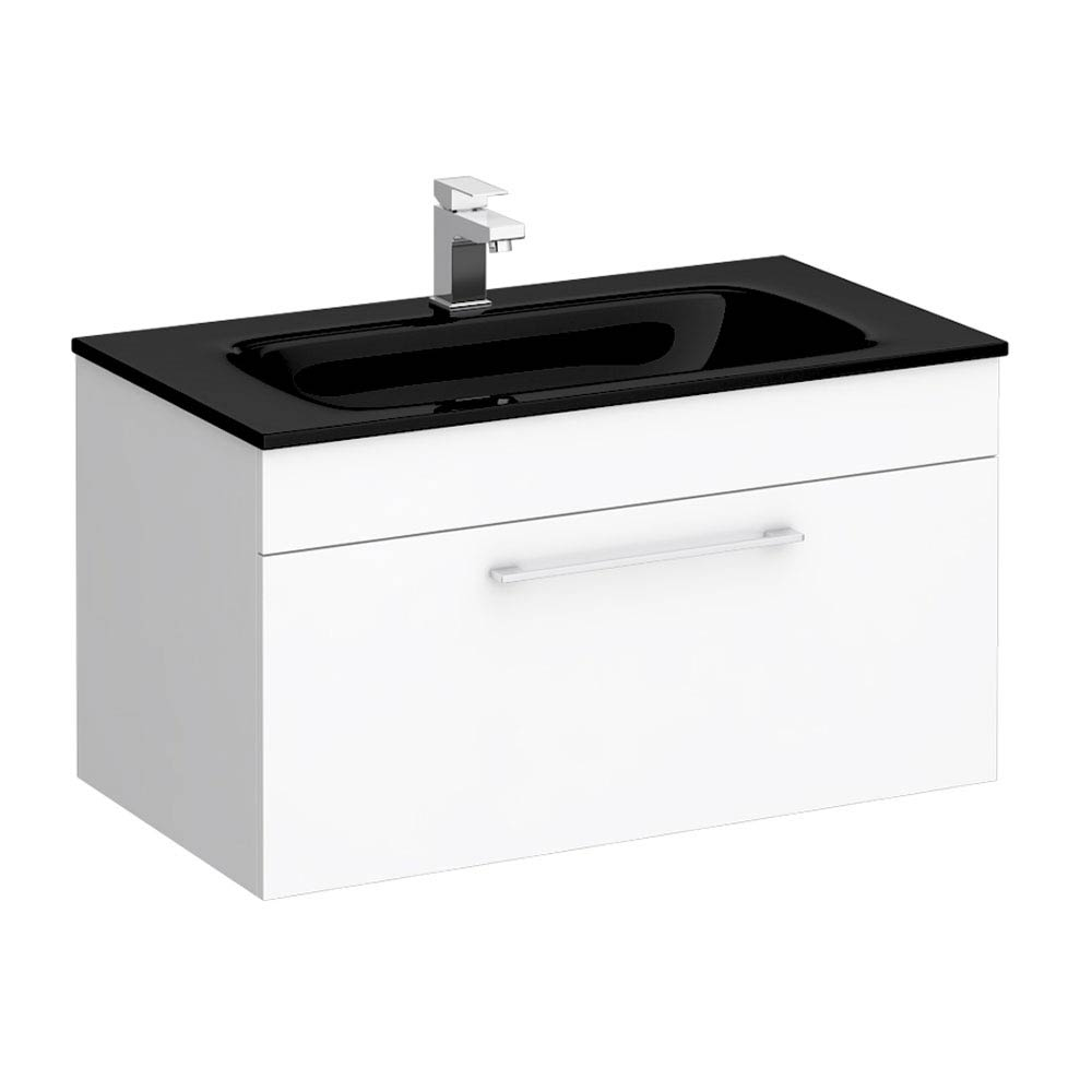 Eclipse Black Modern Wall Hung Vanity Unit (800mm Wide - 1 Tap Hole) profile large image view 1