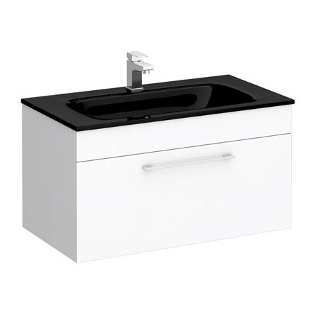 Eclipse Black Modern Wall Hung Vanity Unit (800mm Wide - 1 Tap Hole)