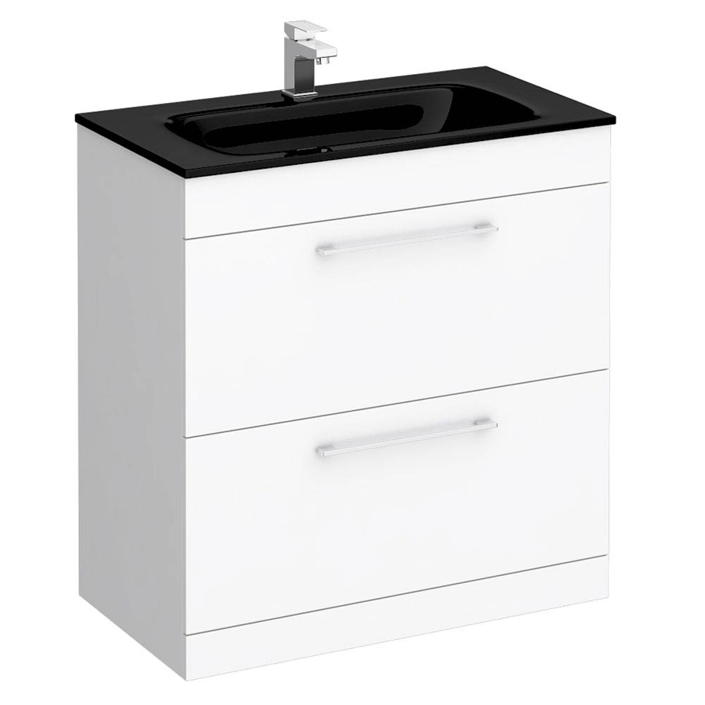 Eclipse Black Modern 2 Drawer Vanity Unit (800mm Wide - 1 Tap Hole) Large Image