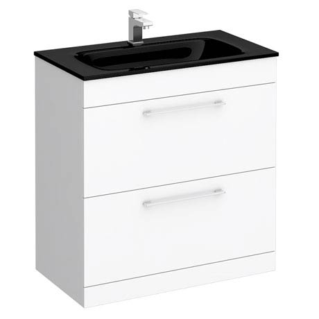 Eclipse Black Modern 2 Drawer Vanity Unit (800mm Wide - 1 Tap Hole)