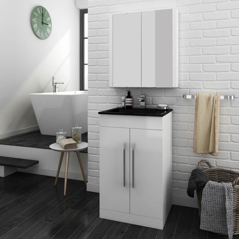 Eclipse Black Modern Vanity Unit (500mm Wide - 1 Tap Hole)  Feature Large Image